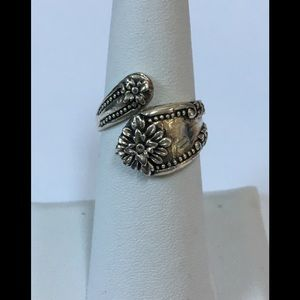 Floral Designed Sterling Silver Spoon Ring